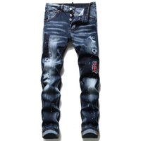 Moda Erkekler Slim Fit Yırtık Kot Sıska Düz Bacak Yıkanmış Erkek Yıpranmış Motosiklet Denim Pantolon Hip Hop Streç Biker erkek Pantolon 1098