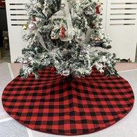 Jupe d'arbre de Noël Rouge Noir Arbre Plaid Fond Décorer Arbre de Noël Robe d'arbre de Noël Arbres de Noël Ornement Fêtes de vacances Fournitures RRA4328