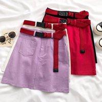 Skirts Ashgaily Women Shorts Skirt With Belt 2021Highstreet High Waist Vintage Style Retro Velvet Female Elegant