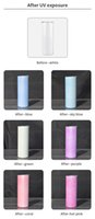 Local warehouse UV Color Changing Tumblers 20oz Sublimation Tumbler Sun Light Sensing Straight Skinny with Straws