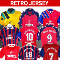 94 95 96 00 01 02 Bayern Retro Jersey Final Elber Zickle Effenberg Elber Pizarro Scholl Matthaus Klinsmann Futbol Gömlekler 1995 2001