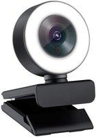 조정 가능한 링 라이트와 마이크에 내장 된 1080p 웹캠 스트리밍. 고급 자동 초점 AF 웹 카메라