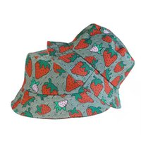 럭셔리 양동이 모자 딸기 야구 모자 남성 여자는 코튼 프린트 편지에 대 한 모자 캐주얼 선인장 어부 모자 casquette 패션