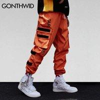 Gonthwid Pantaloni laterali da uomo Cargo Harem Pants Hip-Hop Casual Maschile Tatical Tatical Pantaloni Fashion Streetwear 210629