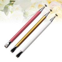 Nail Gel 3PCS Double Head Flower Art Magnet Pens Magnetic Dotting Stick For 3D Cat Eye Polish (Red White Yellow)