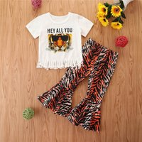 Kids Clothing Sets Girls Outfits Baby Clothes Children Suits Summer Children's Wear Leopard Short Sleeve T-shirts Flared Trousers 2Pcs B6183