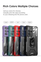 Armor Shockproof Finger Ring Stand Phone Cases For Samsung Galaxy S20 FE A82 Quantum 2 F52 M62 F62 A02S M02 S21 Plus Ultra Hard PC + Rubber Bumper Back Cover