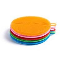 5 색 다목적 식기 세척 실리콘 청소 브러시 내열 매트 접시 타월 씻기 넝마 주방 도구 GWE5079