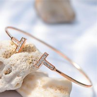 Bangle 2021 Simple Geometric Double T-Shaped Diamond Rose Gold Bracelet Fine Open Jewelry Female