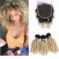 # 1B 613 Ombre Brazilian Tante Funmi Menschenhaar 3bundles und Verschluss Ombre Blondine Funmi Curly Jungfrau Haarspitze Verschluss 4x4 mit Webart Bündel