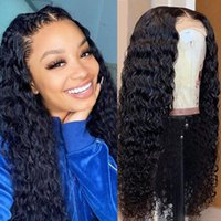 Lace Wigs Wingirl 4x4 Deep Wave Front Human Hair 28Inch Pre-Plucked Brazilian Remy 220% Frontal Closure