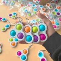 Push Bubble Keychain Finger Toy Sensory Balls Fidget Simple Key Ring Bag Pendants Stress Relief Anti Anxiety Adult Kids Gift