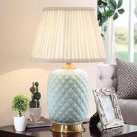 미국 레트로 간단한 블루 세라믹 테이블 램프 거실 연구 침실 침대 옆 램프 밤 빛 홈 럭셔리 장식