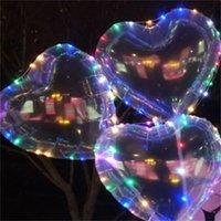 LED piscando bobo balão amor coração estrela forma Balões luminosos com 3m string luzes 70cm pole para decorações de festa de casamento brinquedos 500 y2
