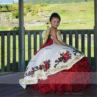 Ball Gown embroidery flower Children Princess Dress Beauty Pageant Dress Puffy Flower Girl Birthday Dress Photography Dresses