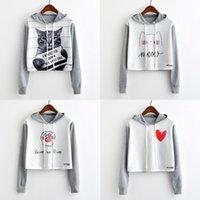 Women's Hoodies & Sweatshirts Artguy Women Fashion Harajuku Sweatshirt Casual Long Sleeve Pullover Cute Graphic Print Gray Crop Top For Autu