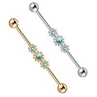 Piercing industrial Joyería de acero quirúrgico Pendientes de barra de la barra andamio Cartílago Helix Conch para mujeres
