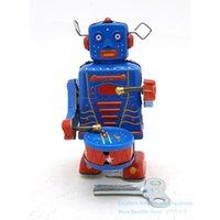 NB Blechblech Retro Wind-up Roboter, Kann Trommelweg, Uhrwerk Spielzeug, nostalgische Verzierung, für Kinder-Geburtstag Weihnachtsjunge-Geschenk, Sammeln, MS514, 2-2