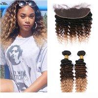 Malaysian 3TOne Ombre волосы человеческие волосы с фронтальными 2 TBundles Deep Wave 1b 4 27 27 Медовые блондинки Оммре Weaves с 13x4 кружевной лобной замыкающей