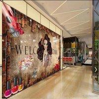 Wallpapers Custom Nail Shop Personality Mural Retro Art Brick Wall Background Wallpaper 3D Beauty Salon Industrial Decor Paper