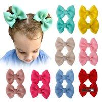 2 pz / Set Colore solido Bambino Bambino Capelli clip arco Baby Girls Taipins Barrettes 1 paia per bambini Baby Carino Archi Accessori per capelli Copricapo