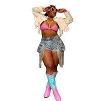 Damen Shorts Echoine Frauen Sommer Fransen Tassel Denim Club Outfit Jeans Hight Taille Femme Skinny Slim Plus Size Jean