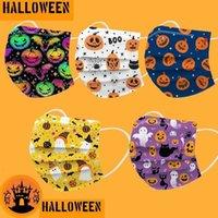50 100pcs Kid  Adult Disposable Masks Cartoon Pumpkin Elf Pattern 3-Layer Skin-friendly Facemask Halloween Cosplay Mascarillas