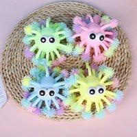 Party Favor 5 calowe Fidget Zabawki Wypukłe Eye Luminous Hedgehog Wielu głowy Glowings Hed Sea Chrushin. LED świecąca zabawka kulowa, która może być swobodnie rzucona na palec