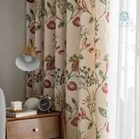 Amerikan oturma perdeleri rustik ev dekor kuşlar desen pencere tedavileri baskılı yatak odası perdeler tek perde panelleri (A312)