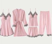 Spring Women Pajamas 5 PCS Satin Sleepwear Pijama Lace Wear Home Clothing Embroidery Sleep Lounge Pyjama with Chest Pads SY030105