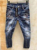 Tasarımcı Erkek Kot Pantolon Sıkıntılı Yırtık Motosiklet Kalem Pantolon Delik Kırma Fermuar Mikro Kurşun Orta Bel Jean
