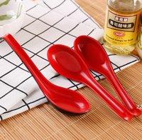 Rojo Negro Color Melamina Cucharas Casas Flotware Japonés Plástico Sopa Sopa Porridge Cuchara HWA9306