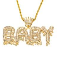 펜던트 목걸이 럭셔리 사용자 정의 이름 로얄 크라운 편지 아기 목걸이 2021 힙합 아이스 거리 트렌디 한 쥬얼리 드롭
