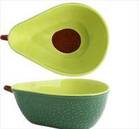 Placa de cerámica de aguacate Desayuno para niños Tazón de fuente Vajilla Placa Placa Snack Plate Ensalada Bowl Photo Props 38 S2