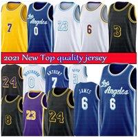 2021 Los City Basketball Jerseys 23 6 Russell 0 Westbrook Jersey Anthony 3 Davis Homens Carmelo 7 Anthony Camiseta 8 24 Juventude Crianças S-XXL Retro
