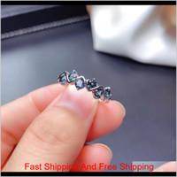 Weaby Sedfelt Style Ring Natural London Blue Topaz кольцо S925 Стерлинговое серебро S925 Простой популярный Blue Gemstone Ювелирные Изделия Леди Кольцо Y1124 O 2wome