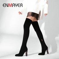 Enmayer 2019 sobre las botas de invierno de la rodilla Mujeres se deslizan en las botas delgadas de gamuza Faux Toe Round Toe Basic Square Heel Mujer zapatos 34 41 Zapatos Sexy B U7RT #