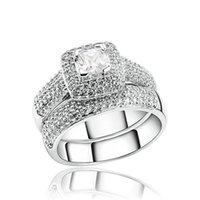 Vecalon 188 stücke topaz simulated diamant cz 14kt weiß gold gefüllt 3-in-1 engagement hochzeitsband ring set für frauen sz 5-11 40 u2