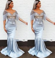 2021 Plus Size Arabic Aso Ebi Lace Mermaid Sexy Prom Dresses Sheer Neck Beaded Satin Evening Formal Party Second Reception Bridesmaid Gowns Dress ZJ232
