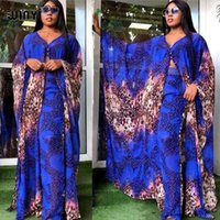 Casual Dresses WINYItwo-piece Suit Bohemian Printed Over Size V-neck Batwing Sleeve Star Dress Women Elastic Silk Floor Length Fashion Tide
