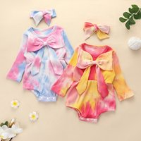 kids Rompers girls Tie dye romper newborn infant Big Bow Pit stripes Jumpsuits with headbands Spring Autumn Fashion baby Climbing clothes Z4257