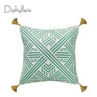 Kissenbezug diphylleia grün geometrisch werfen eindeutig gemustert sofa couch bank kissen abdeckung wiederherstellung von hardware stil dekor