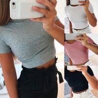 Women's T-Shirt 2021 Summer Women Fashion Crop Top Shirt Solid Color O-Neck Short Sleeve Casual Tees Basic