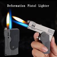 Créativité Double feu Déformation Pistolet Butane Torch Briquet Jet Free Cigarette Cigarette Flint Grinding Briquets Pas de gaz