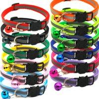 Colliers de chien de chat de sécurité de la sécurité 12 couleurs Nylon réfléchissant Pierre chiot Petits chiens Chaton Catcollar avec cloche colorée WLL15