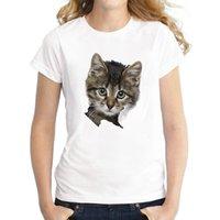 Moda 3D Kedi Baskı Rahat Harajuku Kadın T-shirt Yaz Kısa Kollu O-Boyun Tee Giysileri Üst Kadın T Shirt