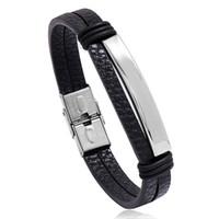 Lege glazuur roestvrij staal gesp armband zwart bruin mannen lederen armbanden polsband armband manchet mode-sieraden Will en Sandy