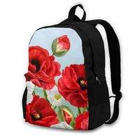 Rucksack Blumenrand rot Mohnblumen Blumen und weiße Anemone Studenten Hohe Mittelschultaschen für Laptop Reiserucksäcke