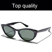 Высочайшее качество Классические лучи 4314 Дамы Солнцезащитные очки Кошачьи глазные Солнцезащитные Очки Женщины Ацетат Рамка Стекло Линзы Солнцезащитные Очки Женская Мода Для Женщин