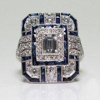 Hochzeitsringe Vintage blau Grün Zirkon Ring Männer Geometrische Quadrat Für Frauen Dame Big Edelstein Stein Party Geschenke Schmuck